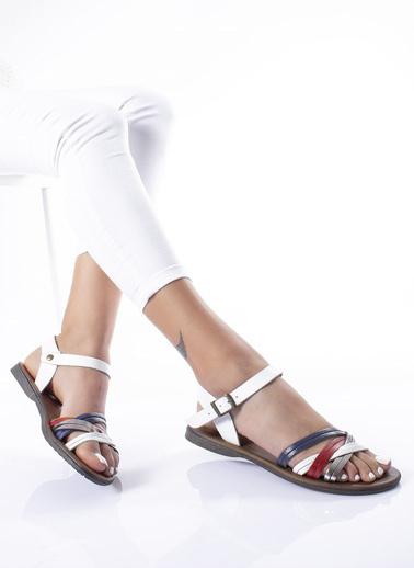 MODAGON Hakiki Deri Sandalet Terlik Mavi
